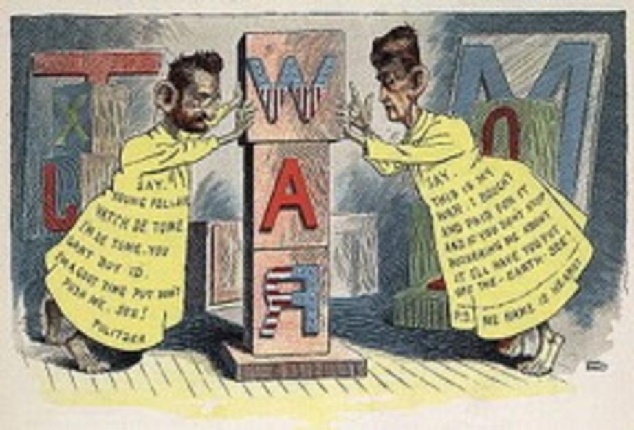 An 1898 cartoon features newspaper publishers Joseph Pulitzer and William Randolph Hearst dressed as a cartoon character of the day, a satire of their papers' role in drumming up U.S. public opinion for war by Leon Barritt (Wikimedia)